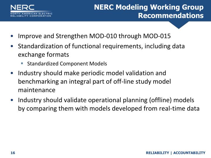 NERC Modeling Working Group Recommendations