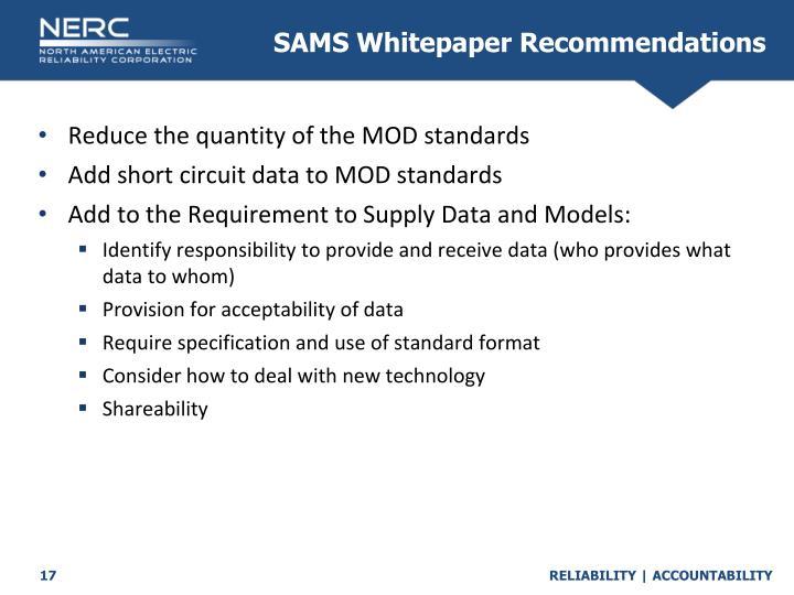 SAMS Whitepaper Recommendations
