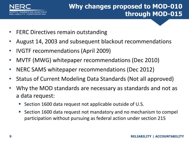 Why changes proposed to MOD-010 through MOD-015