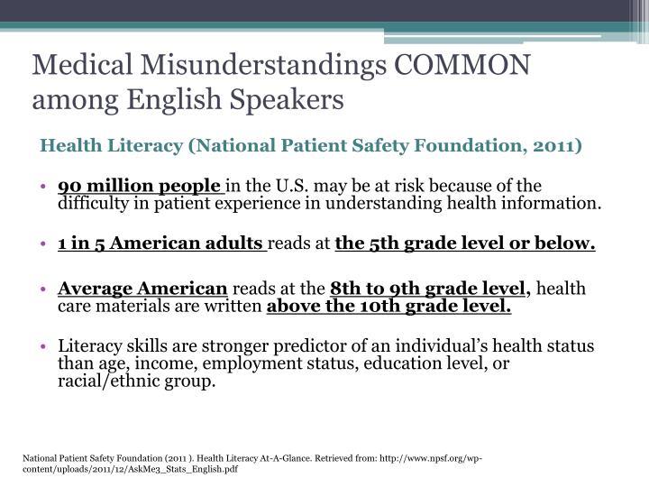 Medical Misunderstandings COMMON