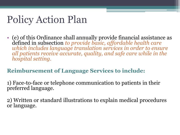 Policy Action Plan