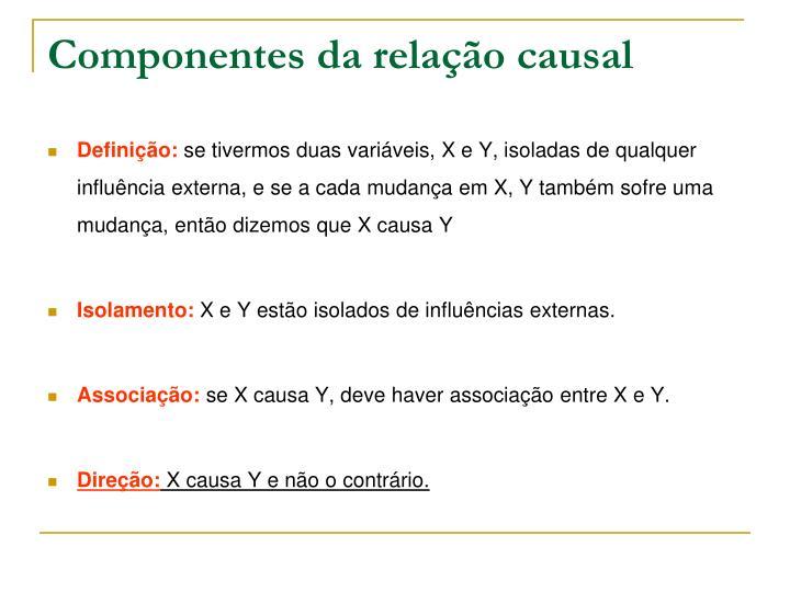Componentes da relação causal