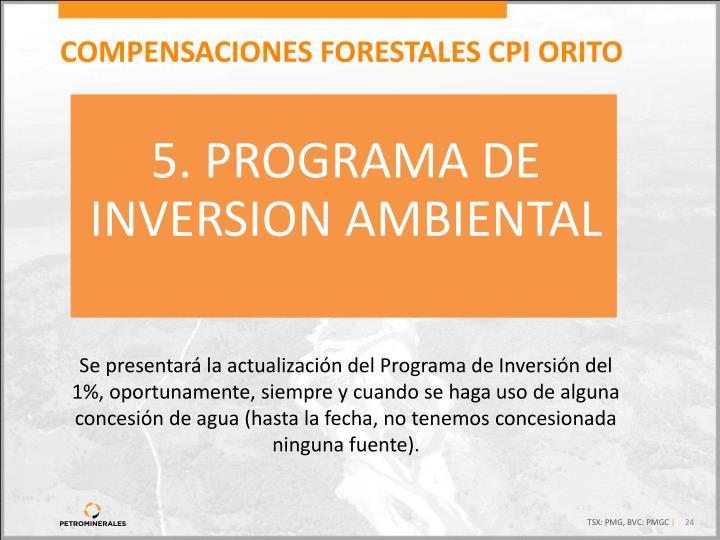 5. PROGRAMA DE  INVERSION