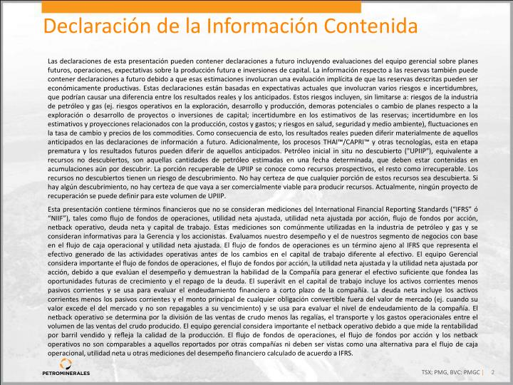 Declaración de la Información