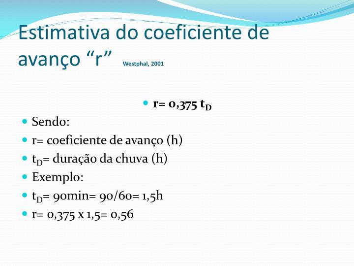 """Estimativa do coeficiente de avanço """"r"""""""