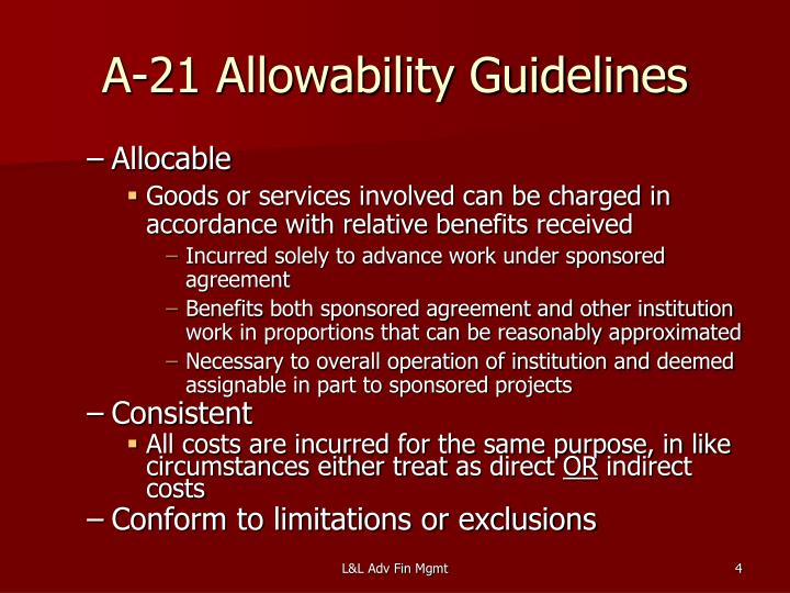 A-21 Allowability Guidelines