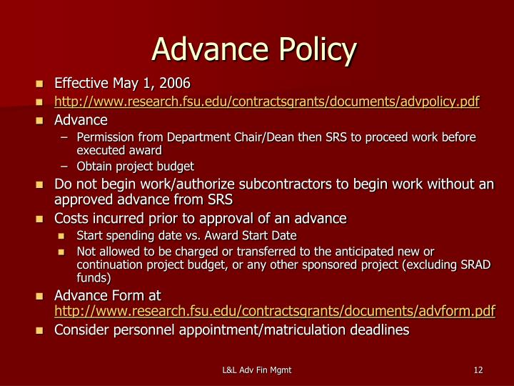 Advance Policy