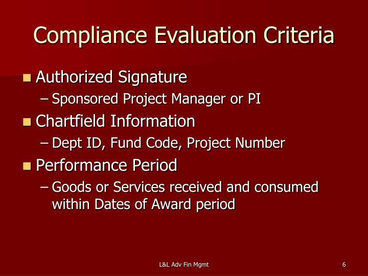 Compliance Evaluation Criteria