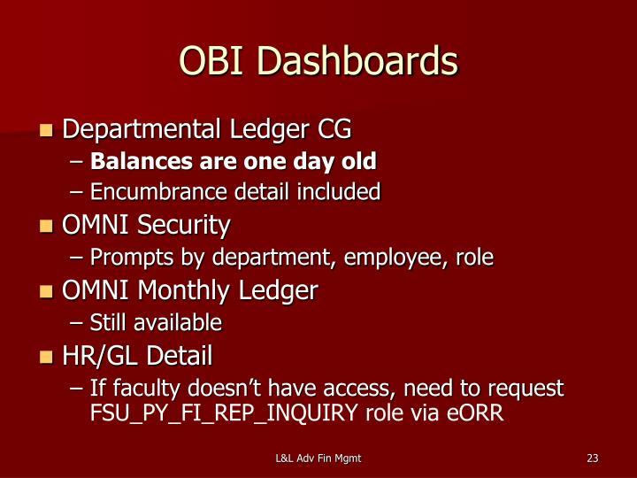 OBI Dashboards