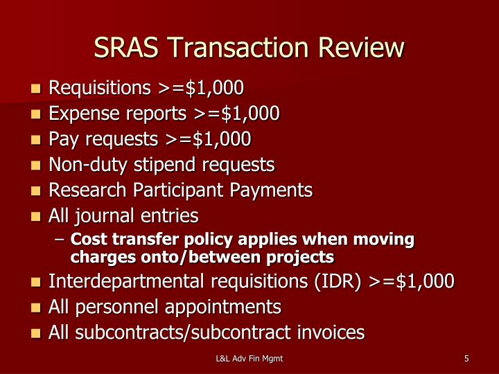 SRAS Transaction Review