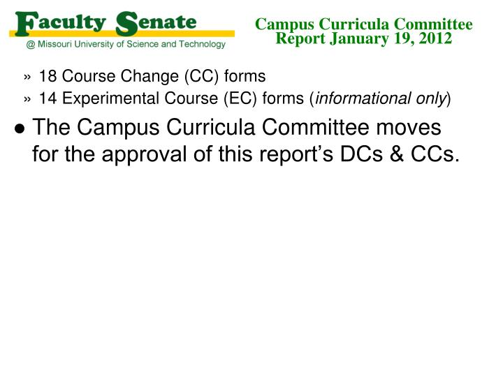 Campus curricula committee report january 19 20121