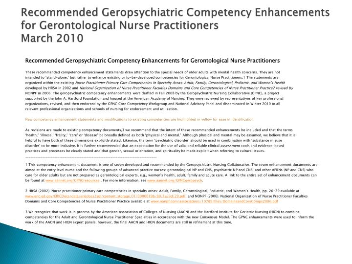 Recommended Geropsychiatric Competency Enhancements for Gerontological Nurse Practitioners