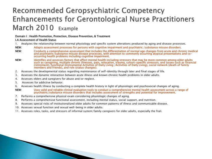Recommended Geropsychiatric Competency Enhancements for Gerontological Nurse