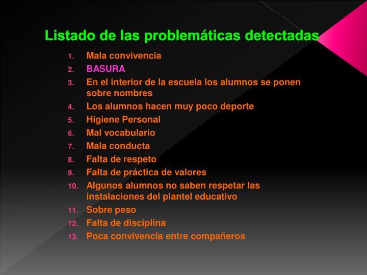 Listado de las problemáticas detectadas