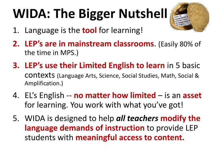 WIDA: The Bigger Nutshell