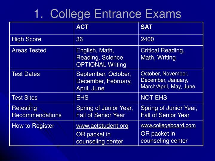 1.  College Entrance Exams