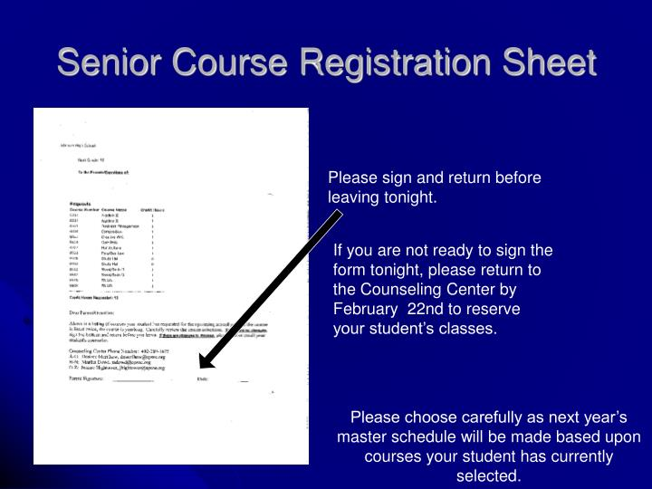 Senior Course Registration Sheet