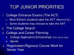 top junior priorities