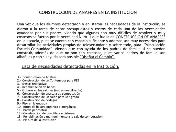 CONSTRUCCION DE ANAFRES EN LA INSTITUCION