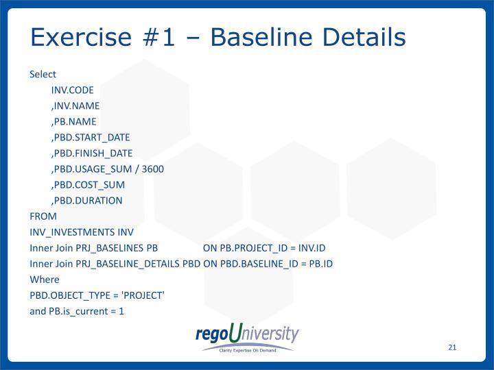 Exercise #1 – Baseline Details