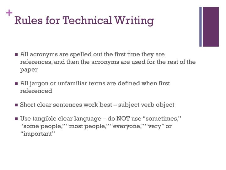 Rules for Technical Writing