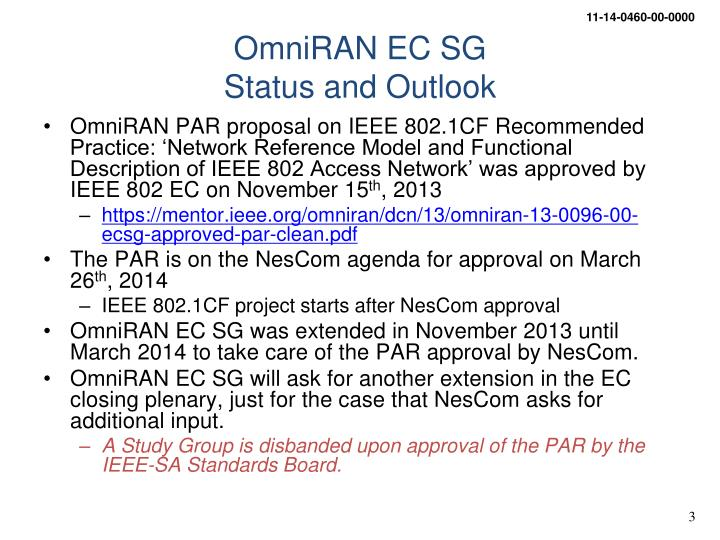 Omniran ec sg status and outlook
