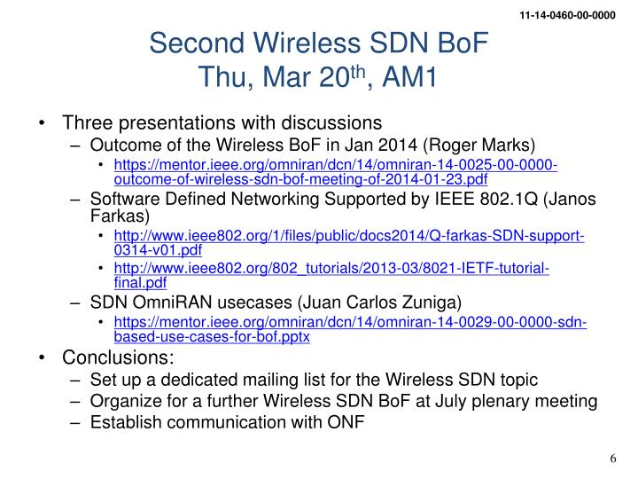 Second Wireless SDN BoF