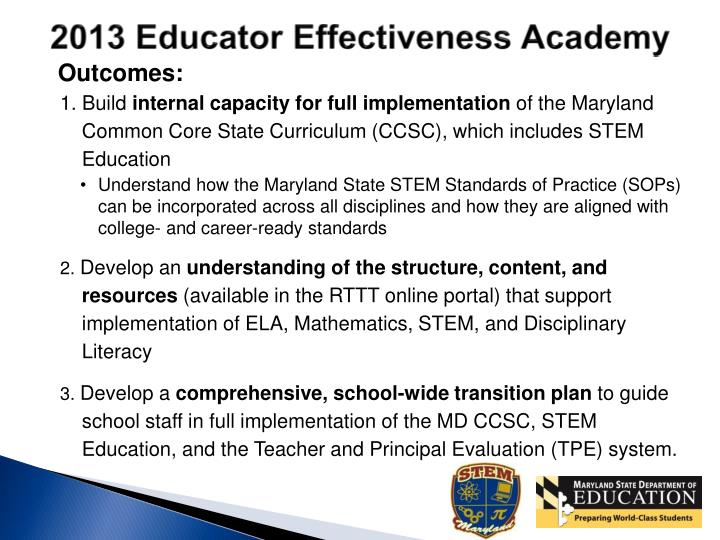 2013 Educator Effectiveness Academy