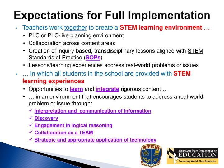 Expectations for Full Implementation