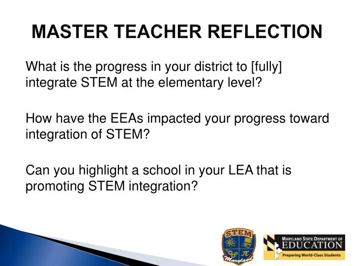 MASTER TEACHER REFLECTION