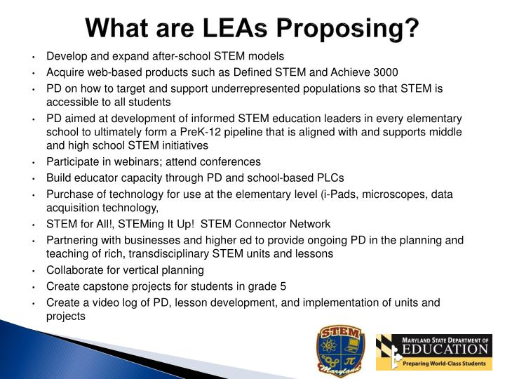 What are LEAs Proposing?