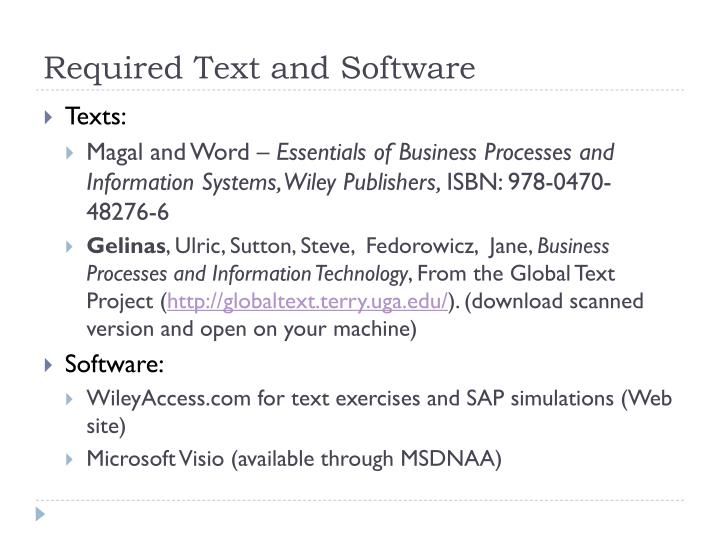 Required Text and Software