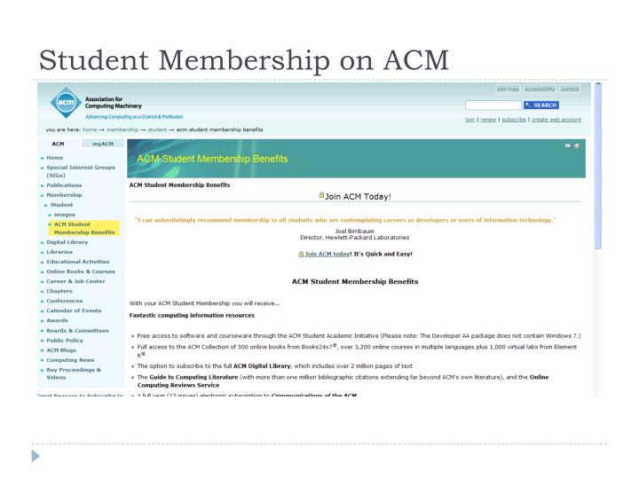 Student Membership on ACM