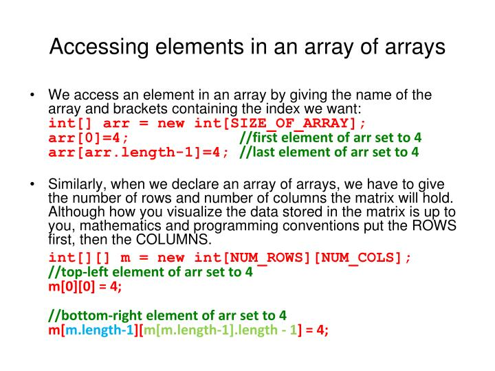 Accessing elements in an array of arrays