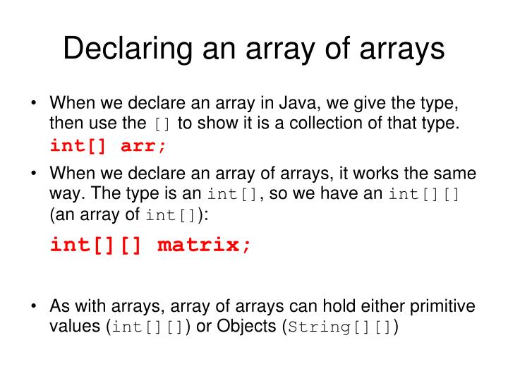 Declaring an array of arrays