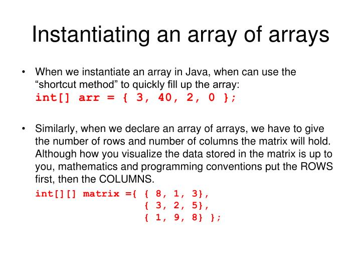 Instantiating an array of arrays