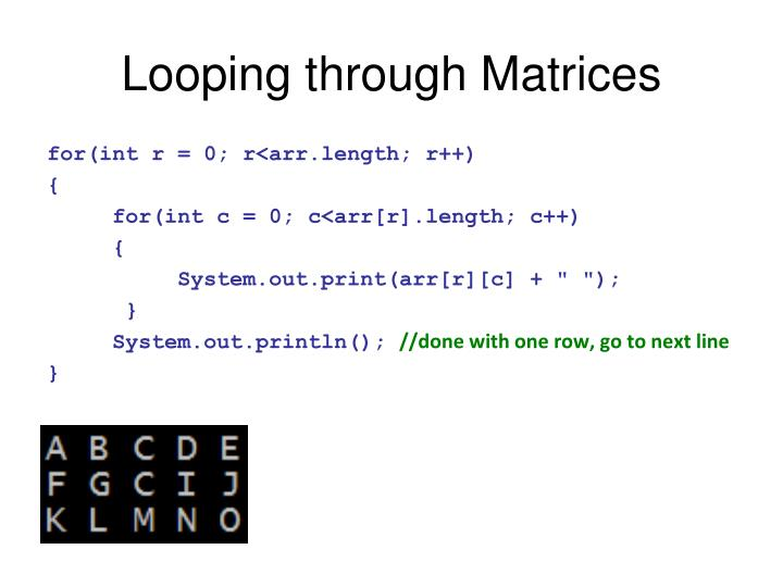 Looping through Matrices