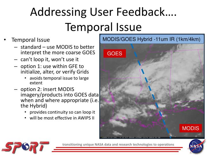 Addressing User Feedback…. Temporal Issue