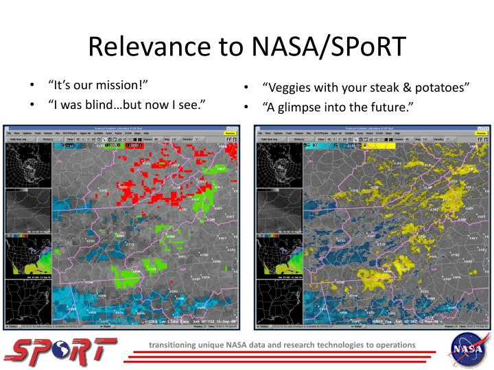 Relevance to NASA/SPoRT