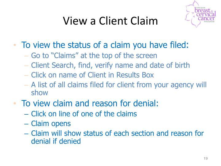 View a Client Claim