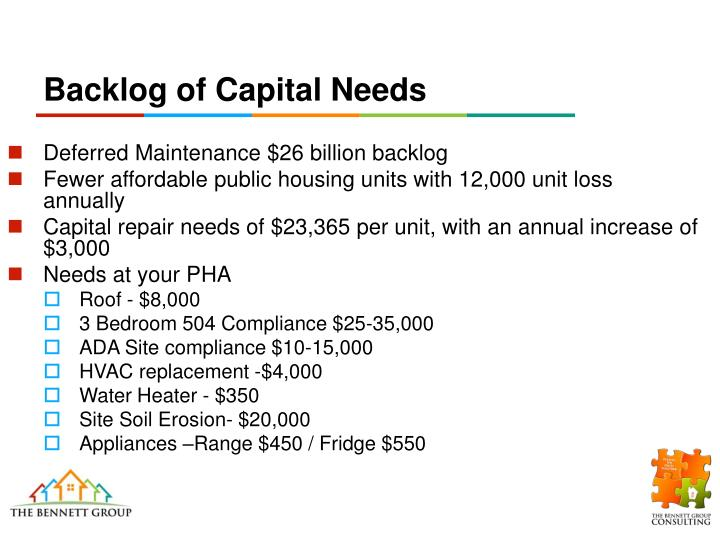 Backlog of Capital Needs