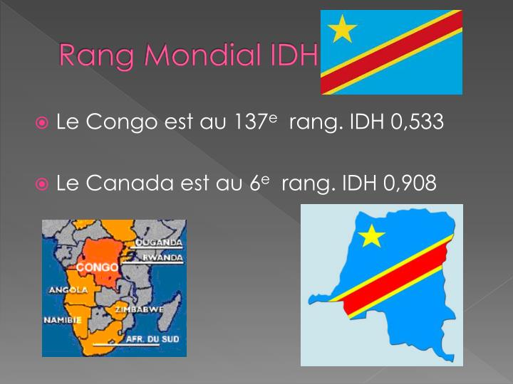Rang Mondial IDH
