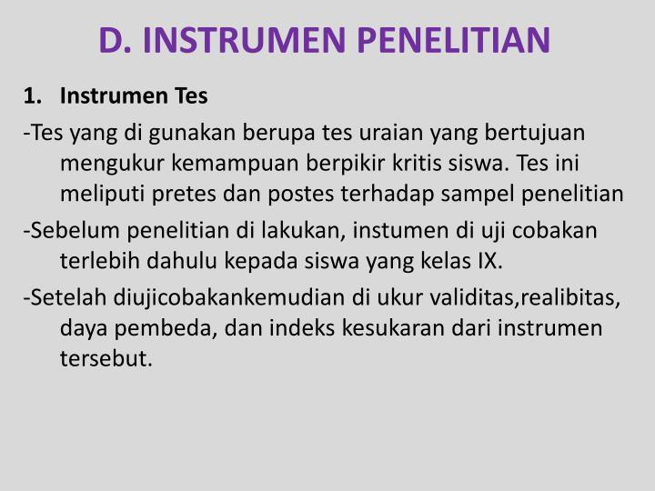 D. INSTRUMEN PENELITIAN