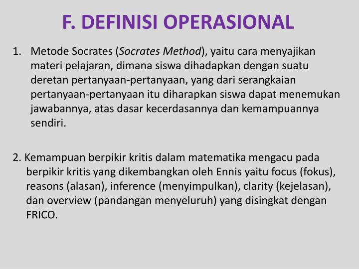 F. DEFINISI OPERASIONAL