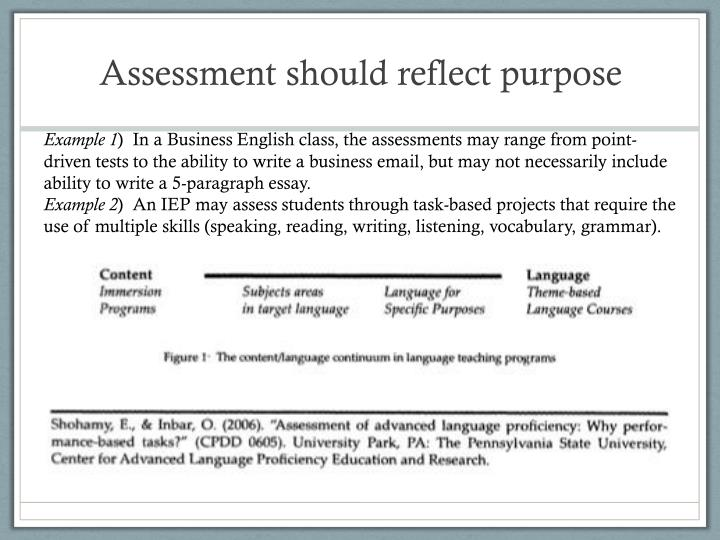Assessment should reflect purpose