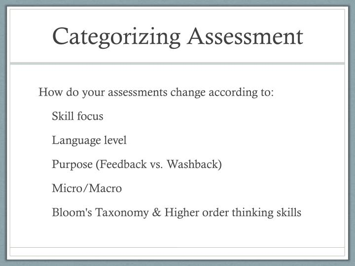Categorizing Assessment