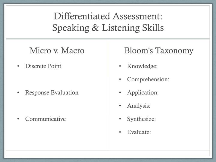 Differentiated Assessment: