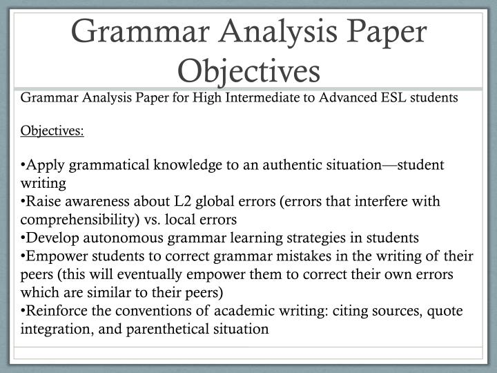 Grammar Analysis Paper Objectives