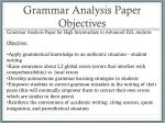 grammar analysis paper objectives