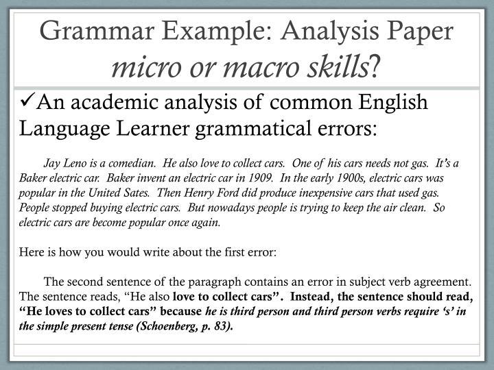 Grammar Example: Analysis Paper